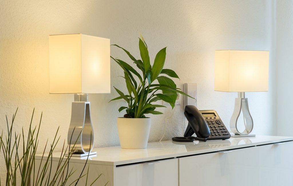 Telefon mit Festnetzflatrate auf Sideboard| Superior Boarding Apartment myBoardinghouse Halle Saale Peißen