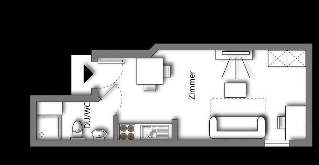Grundriss möbliertes Apartment Classic Boarding | myBoardinghouse Aachen Alsdorf