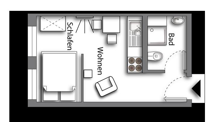 Grundriss möbliertes Apartment Classic Boarding | myBoardinghouse Halle Saale Peißen