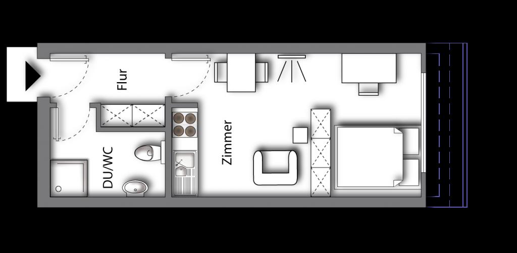 Grundriss möbliertes Apartment Deluxe Boarding | myBoardinghouse Aachen Alsdorf
