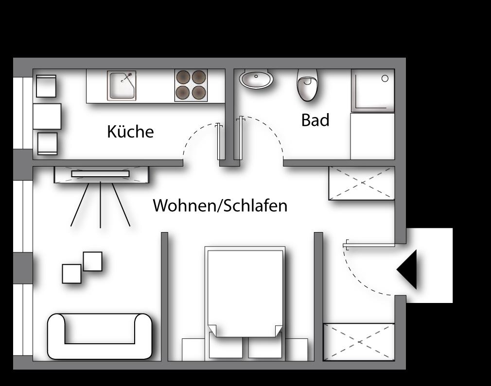 Grundriss möbliertes Apartment Deluxe Boarding | myBoardinghouse Halle Saale Peißen
