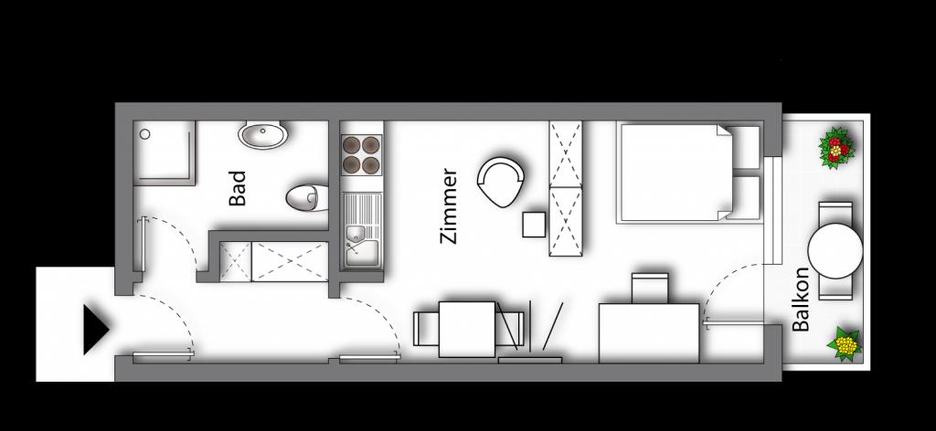 Grundriss möbliertes Apartment Premium Boarding | myBoardinghouse Aachen Alsdorf