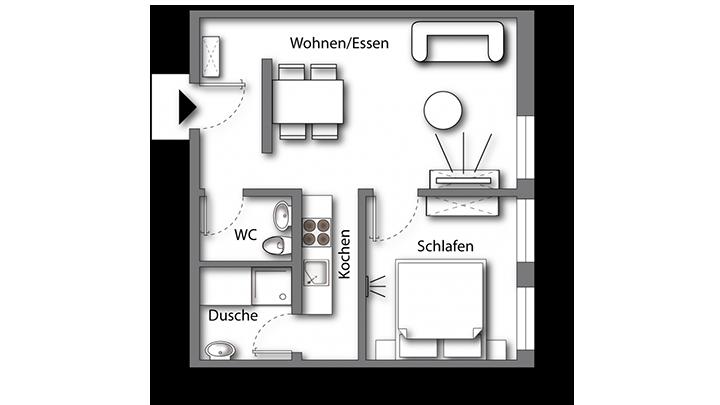 Grundriss möbliertes Apartment Premium Boarding | myBoardinghouse Halle Saale Peißen