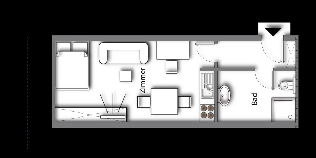 Grundriss möbliertes Apartment Superior Boarding | myBoardinghouse Aachen Alsdorf