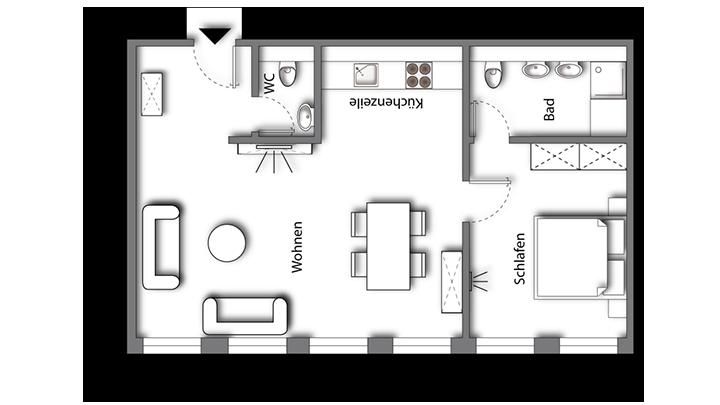 Grundriss möbliertes Apartment Superior Boarding | myBoardinghouse Halle Saale Peißen